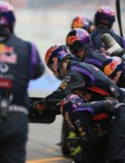 World © Octane Photographic Ltd. Infiniti Red Bull Racing RB11 – Daniil Kvyat - Pit crew. Saturday 21st February 2015, F1 Winter testing, Circuit de Catalunya, Barcelona, Spain, Day 3. Digital Ref : 1190LB1D8198