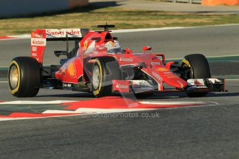 World © Octane Photographic Ltd. Scuderia Ferrari SF15-T– Sebastian Vettel. Sunday 22nd February 2015, F1 Winter testing, Circuit de Barcelona Catalunya, Spain, Day 4. Digital Ref: 1191CB1L8665