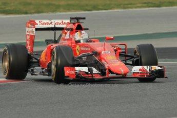World © Octane Photographic Ltd. Scuderia Ferrari SF15-T– Sebastian Vettel. Sunday 1st March 2015, F1 Winter test #3, Circuit de Barcelona-Catalunya, Spain Test 2 Day 4. Digital Ref: 1195CB1L3759