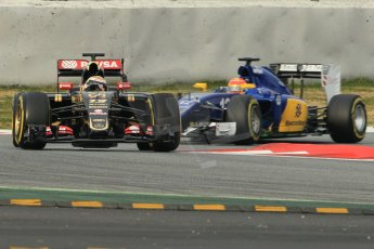 World © Octane Photographic Ltd. Lotus F1 Team E23 Hybrid – Pastor Maldonado and Sauber F1 Team C34-Ferrari – Felipe Nasr. Sunday 1st March 2015, F1 Winter test #3, Circuit de Barcelona-Catalunya, Spain Test 2 Day 4. Digital Ref: 1195CB1L3803