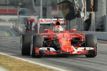 World © Octane Photographic Ltd. Scuderia Ferrari SF15-T– Sebastian Vettel. Sunday 1st March 2015, F1 Winter test #3, Circuit de Barcelona-Catalunya, Spain Test 2 Day 4. Digital Ref: 1195CB1L4198