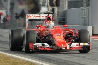 World © Octane Photographic Ltd. Scuderia Ferrari SF15-T– Sebastian Vettel. Sunday 1st March 2015, F1 Winter test #3, Circuit de Barcelona-Catalunya, Spain Test 2 Day 4. Digital Ref: 1195CB1L4207