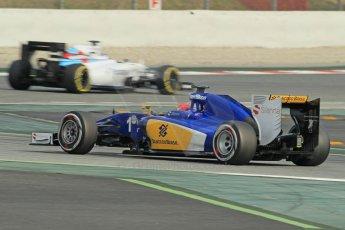 World © Octane Photographic Ltd. Williams Martini Racing FW37 – Valtteri Bottas and Sauber F1 Team C34-Ferrari – Felipe Nasr. Sunday 1st March 2015, F1 Winter test #3, Circuit de Barcelona-Catalunya, Spain Test 2 Day 4. Digital Ref: 1195CB1L4819