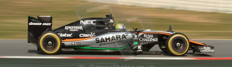 World © Octane Photographic Ltd. Sahara Force India VJM08 – Sergio Perez. Sunday 1st March 2015, F1 Winter test #3, Circuit de Barcelona-Catalunya, Spain Test 2 Day 4. Digital Ref: 1195CB7B1528