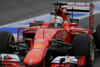 World © Octane Photographic Ltd. Scuderia Ferrari SF15-T– Sebastian Vettel. Sunday 1st March 2015, F1 Winter test #3, Circuit de Barcelona-Catalunya, Spain Test 2 Day 4. Digital Ref: 1195LB1D3297