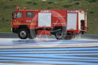 World © Octane Photographic Ltd. Pirelli wet tyre test, Paul Ricard, France. Monday 25th January 2016. Deluge system getting help by support vehicles. Digital Ref: 1498CB1D8682