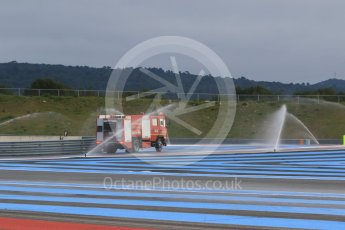 World © Octane Photographic Ltd. Pirelli wet tyre test, Paul Ricard, France. Monday 25th January 2016. Deluge system getting help by support vehicles. Digital Ref: 1498CB7D5134