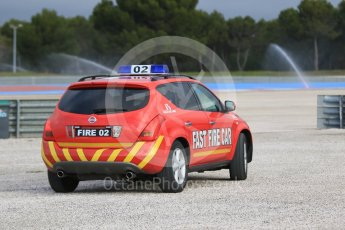 World © Octane Photographic Ltd. Pirelli wet tyre test, Paul Ricard, France. Monday 25th January 2016. Deluge system getting help by support vehicles. Digital Ref: 1498CB7D5150