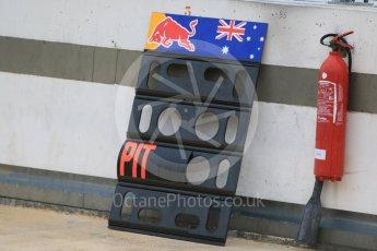 World © Octane Photographic Ltd. Pirelli wet tyre test, Paul Ricard, France. Monday 25th January 2016. Red Bull Racing RB11 – Daniel Ricciardo' pit board. Digital Ref:1498CB7D5230