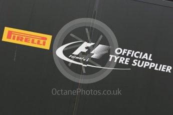 World © Octane Photographic Ltd. Pirelli wet tyre test, Paul Ricard, France. Monday 25th January 2016. Pirelli logo. Digital Ref: 1498LB1D5512