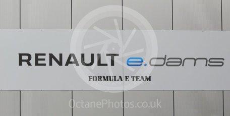 World © Octane Photographic Ltd. 5th February 2016 – Donington Park Formula e HQ. Renault e-dams Formula e team logo. Digital Ref : 1501CB1D0498