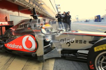 World © Octane Photographic 2011. Formula 1 testing Monday 21st February 2011 Circuit de Catalunya. McLaren MP4/26 - Lewis Hamilton. Digital ref : 0012CB1D2618