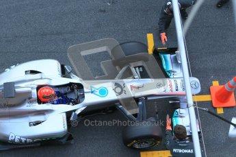 World © Octane Photographic 2011. Formula 1 testing Monday 21st February 2011 Circuit de Catalunya. Mercedes MGP W02 - Michael Schumacher. Digital ref : 0012CB5D0276