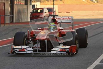 World © Octane Photographic 2011. Formula 1 testing Monday 21st February 2011 Circuit de Catalunya. Ferrari 150° Italia - Felipe Massa. Digital ref : 0012LW7D5423