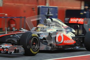 World © Octane Photographic 2011. Formula 1 testing Monday 21st February 2011 Circuit de Catalunya. McLaren MP4/26 - Lewis Hamilton. Digital ref : 0012LW7D5437