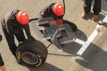 World © Octane Photographic 2011. Formula 1 testing Monday 21st February 2011 Circuit de Catalunya. Virgin pitstop. Digital ref : 0012LW7D5547