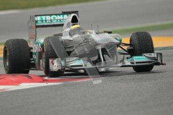 © Octane Photographic 2011. Formula 1 testing Sunday 20th February 2011 Circuit de Catalunya. Mercedes MGP W02 - Nico Rosberg. Digital ref : 0010CB1D2055