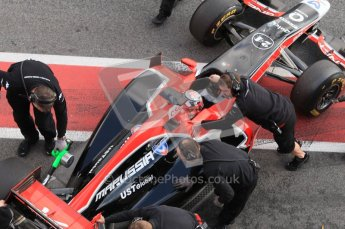 © Octane Photographic 2011. Formula 1 testing Sunday 20th February 2011 Circuit de Catalunya. Virgin MVR-02 - Timo Glock. Digital ref : 0010CB1D1027