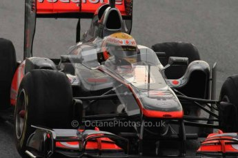 © Octane Photographic 2011. Formula 1 testing Sunday 20th February 2011 Circuit de Catalunya. McLaren MP4/26 - Lewis Hamilton. Digital ref : 0010LW7D2720