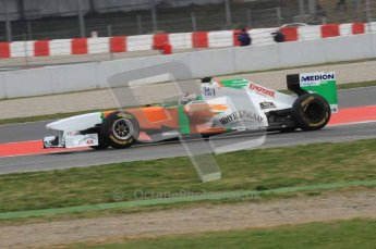 © Octane Photographic 2011. Formula 1 testing Sunday 20th February 2011 Circuit de Catalunya. Force India VJM04 - Adrian Sutil. Digital ref : 0010LW7D3534