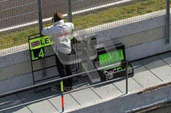 © Octane Photographic 2011. Formula 1 testing Sunday 20th February 2011 Circuit de Catalunya. McLaren - Lewis Hamilton's pit board Digital ref : 0010LW7D4767