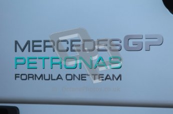 World © Octane Photographic 2010. © Octane Photographic 2011. Formula 1 testing Friday 18th February 2011 Circuit de Catalunya. Friday 18th February 2011 Circuit de Catalunya. Mercedes team logo. Digital ref : 0024CB1D0249