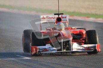 World © Octane Photographic 2010. © Octane Photographic 2011. Formula 1 testing Friday 18th February 2011 Circuit de Catalunya. Ferrari 150° Italia - Fernando Alonso. Digital ref : 0024CB7D9696