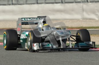World © Octane Photographic 2010. © Octane Photographic 2011. Formula 1 testing Saturday 19th February 2011 Circuit de Catalunya. Mercedes MGP W02 - Nico Rosnerg. Digital ref : 0025CB1D0751
