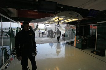 World © Octane Photographic 2011. Formula 1 testing Wednesday 9th March 2011 Circuit de Catalunya. Lotus garage. Digital ref : 0020CB5D5721