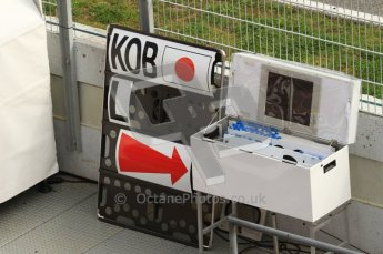 World © Octane Photographic 2011. Formula 1 testing Wednesday 9th March 2011 Circuit de Catalunya. Sauber - Kamui Kobayashi's pit board. Digital ref : 0020LW7D0439