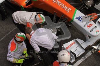 World © Octane Photographic 2011. Formula 1 testing Wednesday 9th March 2011 Circuit de Catalunya. Force India pit stop practice. Digital ref : 0020LW7D0494