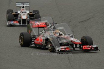 World © Octane Photographic 2011. Formula 1 testing Wednesday 9th March 2011 Circuit de Catalunya. McLaren MP4/26 - Lewis Hamilton, Sauber C30 - Kamui Kobayashi. Digital ref : 0020LW7D8658
