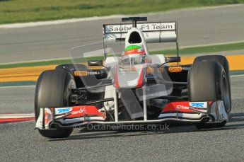 World © Octane Photographic 2011. Formula 1 testing Thursday 10th March 2011 Circuit de Catalunya. Sauber C30 - Sergio Perez. Digital ref : 0023cb1d2978