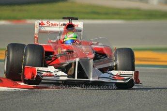 World © Octane Photographic 2011. Formula 1 testing Thursday 10th March 2011 Circuit de Catalunya. Ferrari 150° Italia - Felipe Massa. Digital ref : 0023cb1d3024