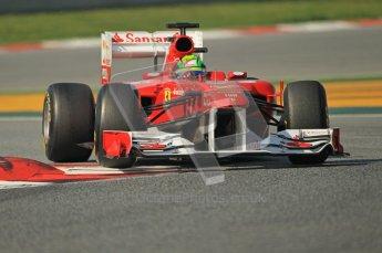 World © Octane Photographic 2011. Formula 1 testing Thursday 10th March 2011 Circuit de Catalunya. Ferrari 150° Italia - Felipe Massa. Digital ref : 0023CB1D3154