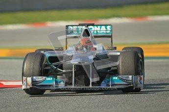 World © Octane Photographic 2011. Formula 1 testing Thursday 10th March 2011 Circuit de Catalunya. Mercedes MGP W02 - Michael Shumacher. Digital ref : 0023CB1D3171