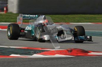 World © Octane Photographic 2011. Formula 1 testing Thursday 10th March 2011 Circuit de Catalunya. Mercedes MGP W02 - Michael Shumacher. Digital ref : 0023LW7D1535