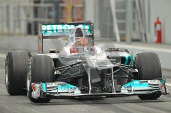 World © Octane Photographic 2011. Formula 1 testing Friday 11th March 2011 Circuit de Catalunya. Mercedes MGP W02 - Michael Schumacher. Digital ref : 0022CB1D3859