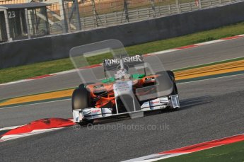 World © Octane Photographic 2011. Formula 1 testing Friday 11th March 2011 Circuit de Catalunya. Force India VJM04 - Adrian Sutil. Digital ref : 0022LW7D1863