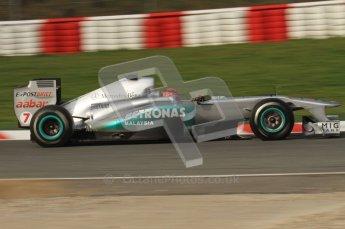 World © Octane Photographic 2011. Formula 1 testing Friday 11th March 2011 Circuit de Catalunya. Mercedes MGP W02 - Michael Schumacher. Digital ref : 0022LW7D2739