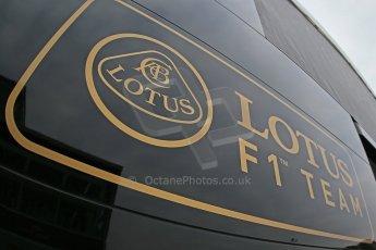 World © Octane Photographic Ltd. F1 Spanish GP Thursday 9th May 2013. Lotus F1 Team logo. Paddock and pitlane. Digital Ref : 0654cb1d7991