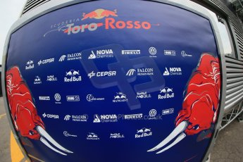 World © Octane Photographic Ltd. F1 Spanish GP Thursday 9th May 2013. Toro Rosso logo and sponsors. Paddock and pitlane. Digital Ref : 0654cb1d7992