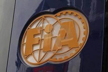 World © Octane Photographic Ltd. F1 Spanish GP Thursday 9th May 2013. FIA logo. Paddock and pitlane. Digital Ref : 0654cb7d8349