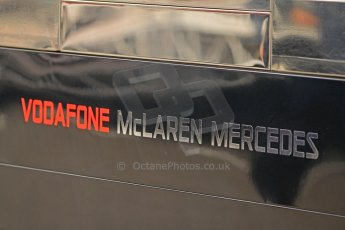 World © Octane Photographic Ltd. F1 Spanish GP Thursday 9th May 2013. Vodafone Mclaren Mercedes logo. Paddock and pitlane. Digital Ref : 0654cb7d8351