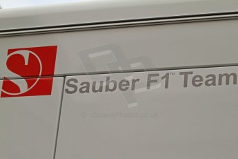 World © Octane Photographic Ltd. F1 Spanish GP Thursday 9th May 2013. Sauber F1 team logo. Paddock and pitlane. Digital Ref : 0654cb7d8352