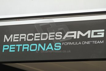 World © Octane Photographic Ltd. F1 Spanish GP Thursday 9th May 2013. Paddock and pitlane. Mercedes AMG Petronas logo. Digital Ref : 0654cb7d8355