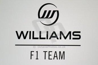 World © Octane Photographic Ltd. F1 Spanish GP Thursday 9th May 2013. Williams F1 Team logo. Paddock and pitlane. Digital Ref : 0654cb7d8357