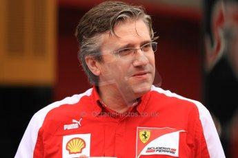 World © Octane Photographic Ltd. F1 Spanish GP Thursday 9th May 2013. Paddock and pitlane. Scuderia Ferrari - Pat Fry. Digital Ref : 0654cb7d8367