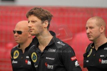 World © Octane Photographic Ltd. F1 Spanish GP Thursday 9th May 2013. Paddock and pitlane. Lotus - Romain Grosjean. Digital Ref : 0654cb7d8418