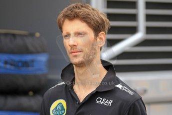 World © Octane Photographic Ltd. F1 Spanish GP Thursday 9th May 2013. Paddock and pitlane. Lotus - Romain Grosjean. Digital Ref : 0654cb7d8444